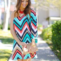 One Shoulder Chevron Print Dress #chevron #beach #spring #love #want #need #wish #cute