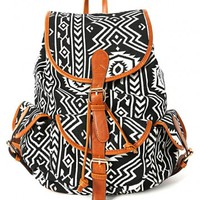 Black and White Tribal Backpack | MakeMeChic.com