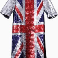 Black Short Sleeve Shift Dress w/ Sequin British Union Jack #sequins #british #unionjack #love #want #need #wish #cute