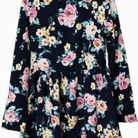 Navy Long Sleeve Skater Dress w/ Multicolor Floral Print #floral #spring #flirty #love #want #need #wish #cute