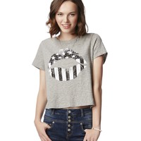 Flag Lips Cropped Graphic T