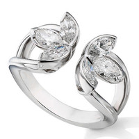 European Engagement Ring - Water Lily Marquise Cut Diamond Ring 1.18 tcw in 14K White Gold - ERES1261