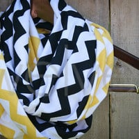 Infinity Scarf // Black/Yellow Chevron Jersey Knit // Adult/Youth/Toddler Scarf // Steelers/Pirates/Southern Miss/Iowa