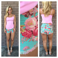 Blue & Pink Floral Denim Shorts