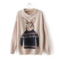 Vintage Beige Batwing Long Sleeve Rabbit Print Pullovers Sweater for Women