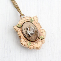 Antique Victorian Bird Locket Necklace - Late 1800s Rose & Yellow Gold Filled Leaf and Embossed Turkey Pendant