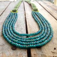 Martha's Vineyard Hand Stitched Avocado Green Velvet Necklace Multistrand Emerald Matte Glass