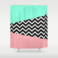 Pastel Chevron Tiffany Rose 80's Pattern Shower Curtain by RexLambo