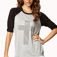 Studded Cross Raglan Top