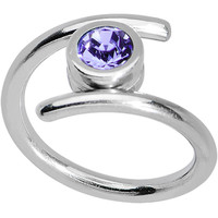 14 Gauge Tanzanite Purple CZ Coil Twist Belly Ring | Body Candy Body Jewelry