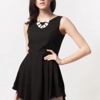 Black Sleevless Dress w/ Fit & Flare Asymmetrical Skirt #love #want #need #wish #cute #lbd #chic #sexy