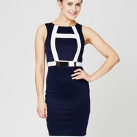 Navy Gold Trim Midi Dress