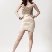 Beige Strapless Mini Dress w/ Textured Weave Bodice #love #want #need #wish #cute #summer #spring #chic