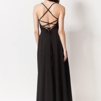 Black Halter Dress w/ Long Maxi Skirt & Open Criss Cross Back #edgy #chic  #lbd #sexy #love #want #need #wish #cute