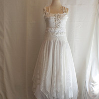 $301.01 Fairy Wedding Dress Upcycled Clothing Tattered Romantic by cutrag