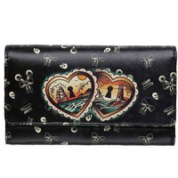 """Heart Locks"" Wallet by Lucky 13 Apparel (Black)"