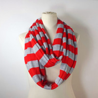 RED STRIPED Infinity Scarf - Red and Gray Eternity Scarf - ECO Friendly Tencel - Soft