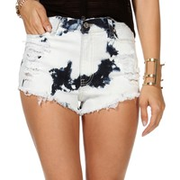 Lt. Denim Bleached Destructed Shorts