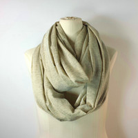 METALLIC GOLD Infinity Scarf - Gold Shimmer - Tan Eternity Scarf - Lurex - Circle of Love