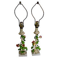 Italian Rose Tole Lamps, Pair