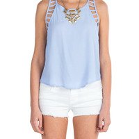Lush Clothing - Cutout Detailed Sleeveless Top - Light Blue