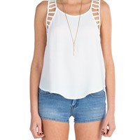 Lush Clothing - Cutout Detailed Sleeveless Top - White