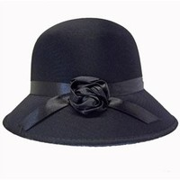 Black Satin Cloche Hat