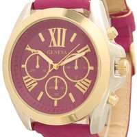Geneva Women's Leather Roman Numeral Chronograph Watch - Fuschia/Gold