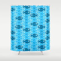 Blue Fish Shower Curtain by Ornaart