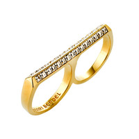 Pave Deco Bar Double Ring
