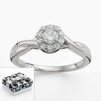 DiamonLuxe Sterling Silver Round-Cut Simulated Diamond Halo Promise Ring
