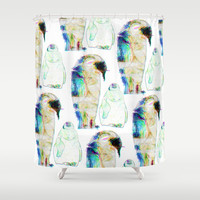 Remix Emperor Penguins Shower Curtain by Ben Geiger