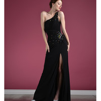 2014 Prom Dresses - Black Jersey & Gem One Shoulder Gown