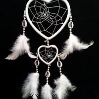 Heart-shaped Dream Catcher with Feathers Car or Wall Hanging -2hwh (With a Betterdecor Pounch)