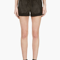 BLACK LEATHER PANEL SHORTS