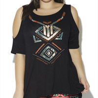Tribal Foil Cold Shoulder Tee | Wet Seal