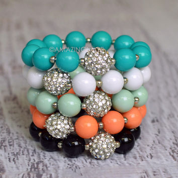 Pastoria Crystal Ball Beaded Stretch Bracelets