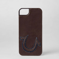 LEATHER SEWN AND PATCHED LOGO IPHONE 5 & 5S CASE