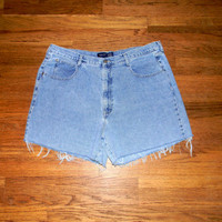 Vintage Denim Cut Offs - 90s Classic LIGHT WASH Stone Washed Jean Shorts - High Waisted Cut Off/Frayed/Distressed Plus Size Shorts Size 18
