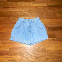 Vintage Denim Cut Offs, 80s Light Wash Acid Washed Upcycled/Rolled up/Distressed Jean Shorts, Cut Off/Frayed LEE BRAND Short Shorts Size 5/6