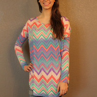 The Fine Print Chevron Tunic - Hazel & Olive