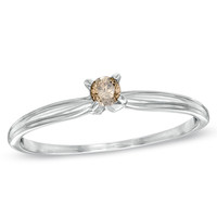1/10 CT. Champagne Diamond Solitaire Ring in 14K White Gold - View All Rings - Zales