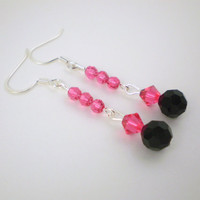 Pink Black Dangle Earrings