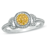 1/5 CT. T.W. Enhanced Yellow and White Diamond Buckle Ring in Sterling Silver - View All Rings - Zales