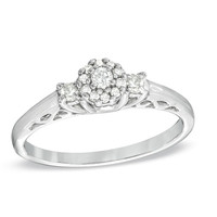 1/5 CT. T.W. Diamond Cluster Three Stone Promise Ring in Sterling Silver - View All Rings - Zales