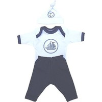 Premature Early Baby Clothes 3 Piece Set - Long Sleeved Top, Trousers  Hat 1.5lb - 7.5lb Navy
