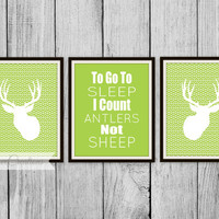 To go to Sleep I Count Antlers not Sheep Print - Children's Room Decor // HomeDecor // Nursery // Deer Hunting Art - Herringbone Print