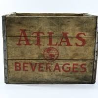 Vintage Wood Pop Crate / Vintage Atlas Beverage Wood Crate / Industrial Home Decor