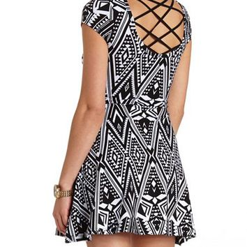 STRAPPY BACK TRIBAL PRINT SKATER DRESS