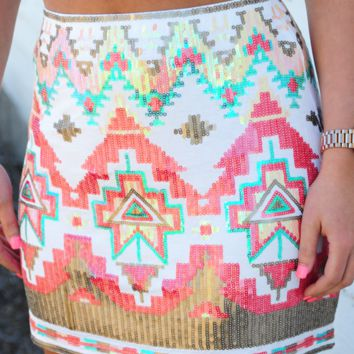 Feel That Fire Skirt: White/Multi | Hope's